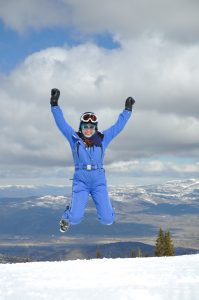 Lisa Niver Jumping for Joy skiing